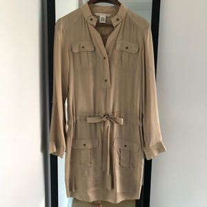 DVF Silk Belted Dress (Tan, Size 2)